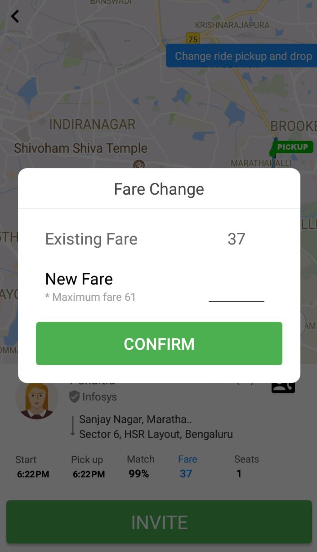 Carpool fare change option