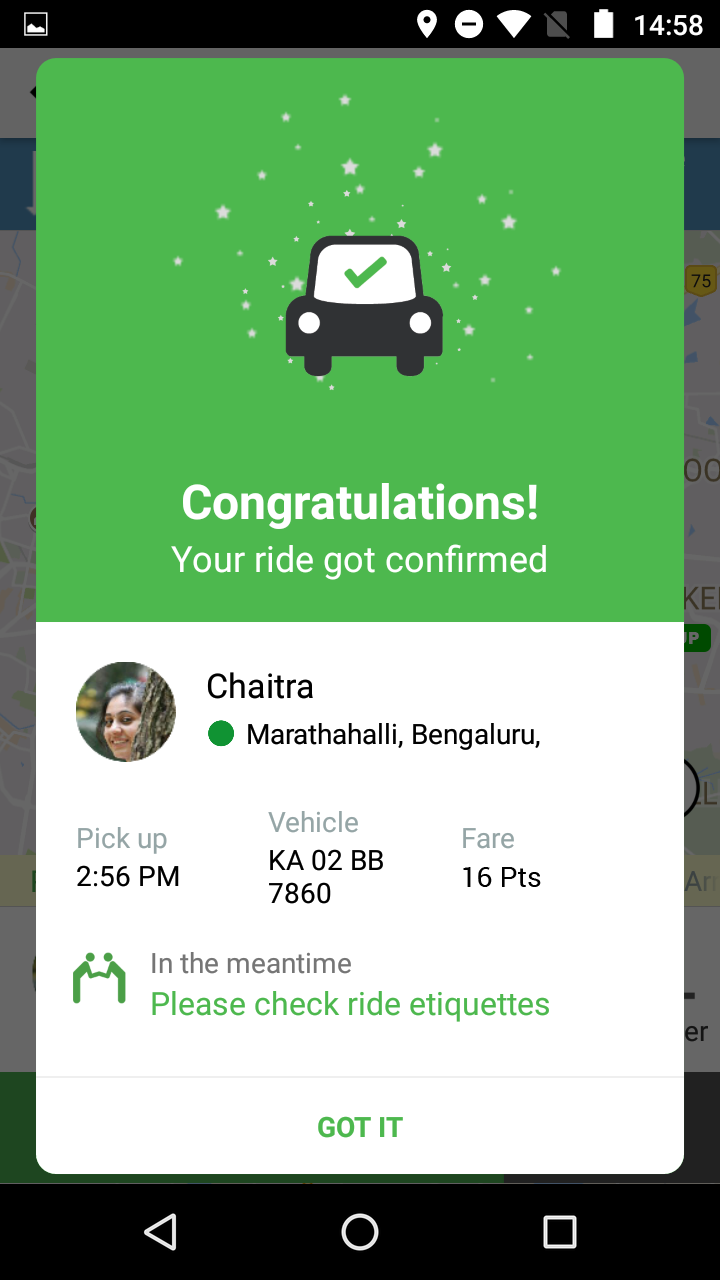 Carpool confirmation