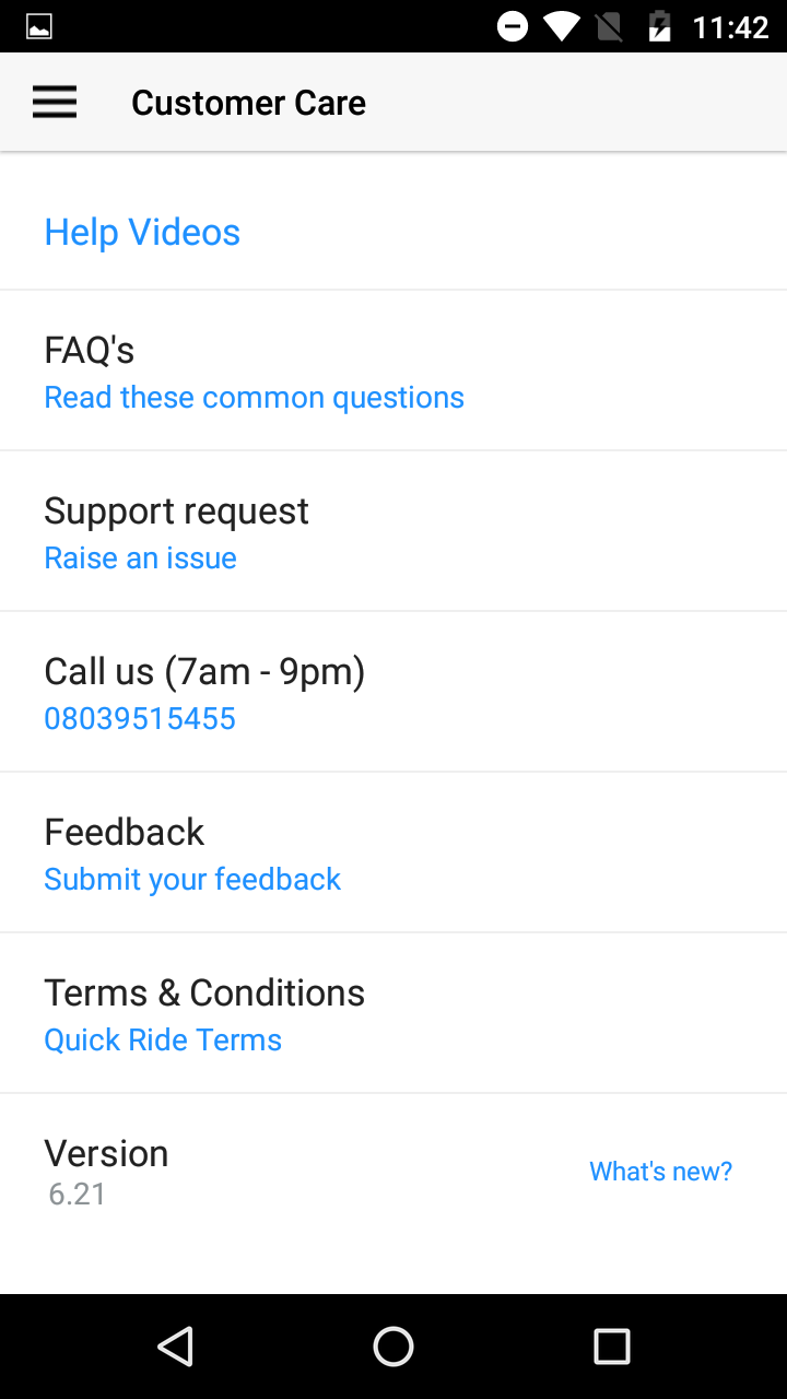 Quick Ride Carpool Customer Care