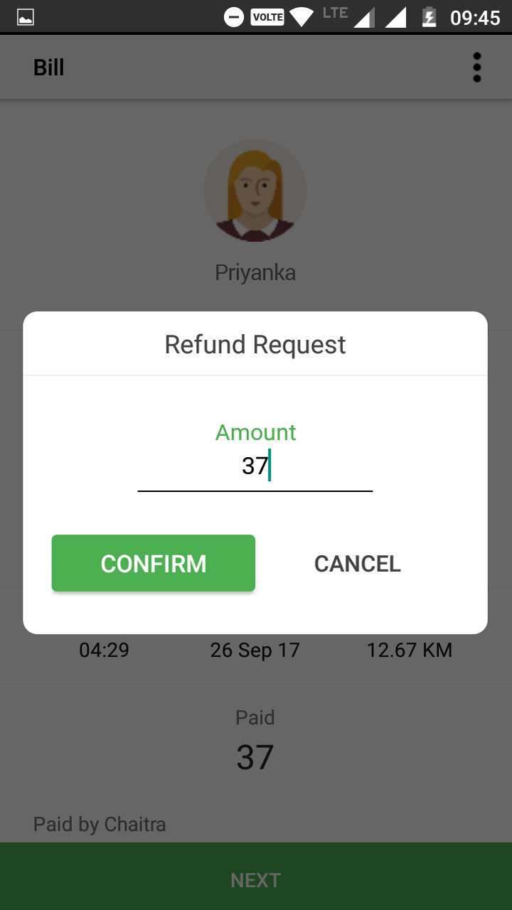 Refund feature for Carpools