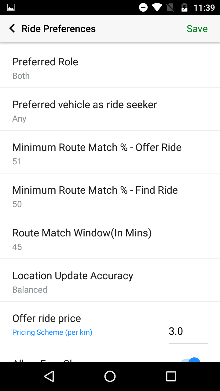 Ride Preference on Quick Ride
