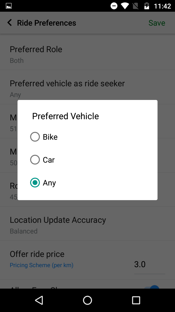 Ride Role Preference on Quick Ride
