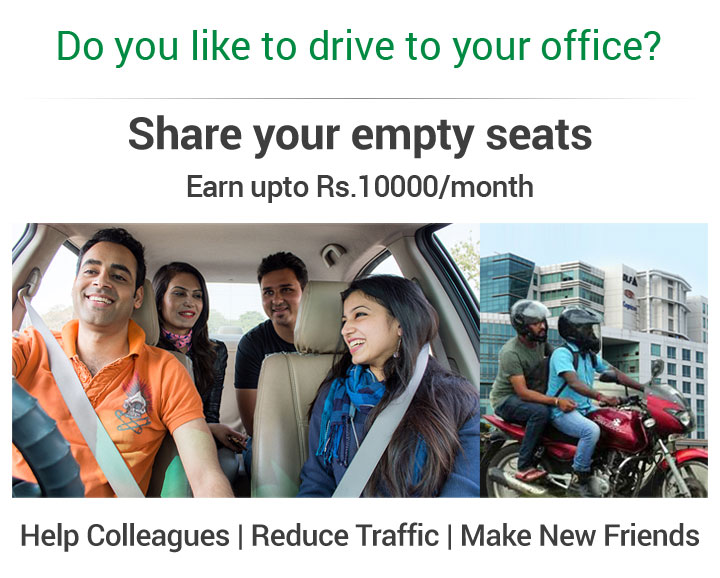 Carpool you car by sharing rides and save fuel cost