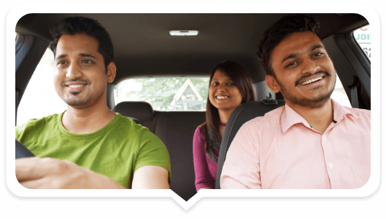 3 people sharing a ride in a car