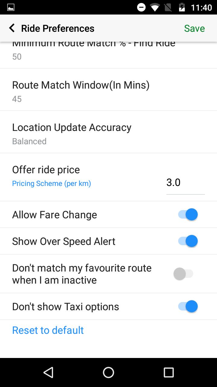 Carpool ride fare change feature
