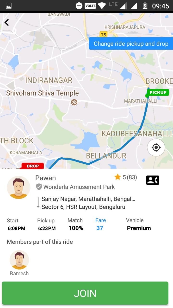 Carpool ride fare bidding