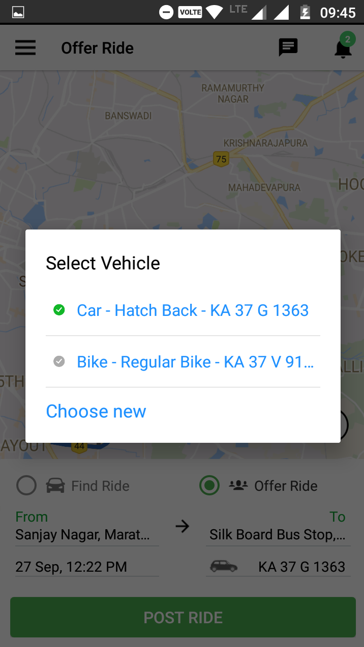 Multi-Vehicle feature to opt for Carpool
