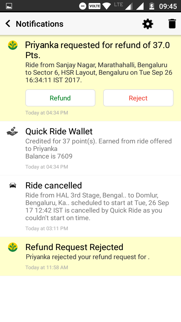 Refund Ride share fare