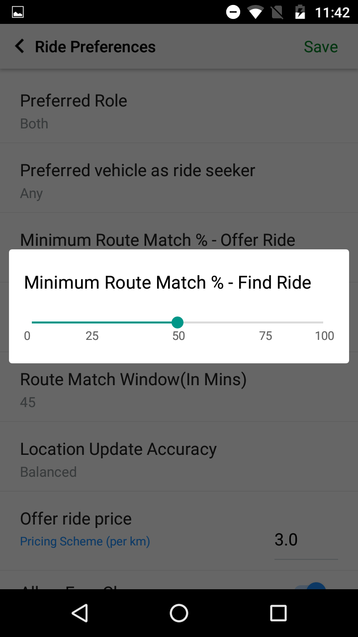 Route Preference on Quick Ride