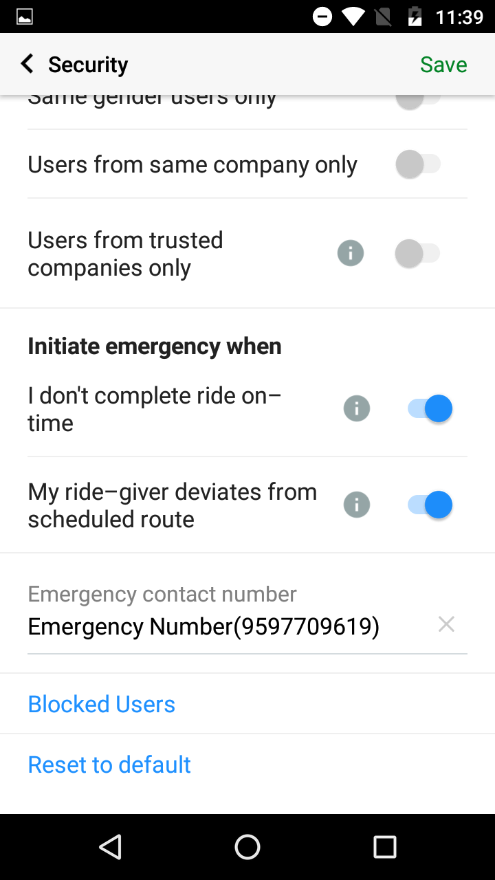 Block users on Quick Ride
