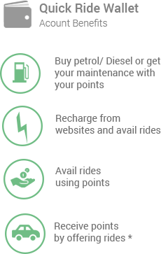 Quick Ride Wallet, 1) Buy Petrol/Diesel or get your maintenance with your points 2) Recharge from websites and avail rides 3) Avail ride using points 4) Receive points by offering rides*